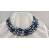 Perlový náhrdelník jezerní černé perly a lapis lazuli NB336
