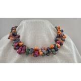Perlový náhrdelník jezerní barevné perly dvojčata NB337