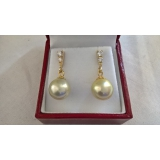 Perlové náušnice mořské zlaté perly 13mm ES098