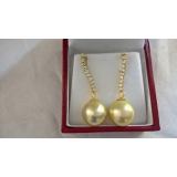 Perlové náušnice mořské zlaté perly 13mm ES101