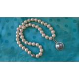 Perlový náhrdelník jezerní bílé perly a mořská perla mabe NB340