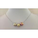 Perlový náhrdelník jezerní duhové obláčkové perly 11mm na řetízku ES119
