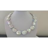 Perlový náhrdelník jezerní bílé coin perly 21mm ES118