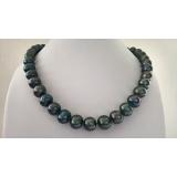 Perlový náhrdelník jezerní černé duhové perly 12mm NB342