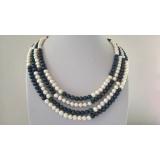 Perlový náhrdelník jezerní bílé a černé perly NJ11953