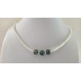 Perlový náhrdelník mořské černé tahiti barokní perly 10mm a měsíční kámen VN031
