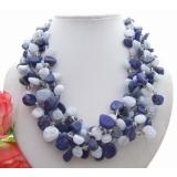 Náhrdelník modrý chalcedon a lapis lazuli YY182