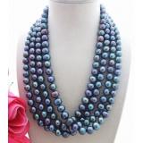 Perlový náhrdelník jezerní černé perly 10mm YY082