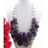 Perlový náhrdelník obláčkové jezerní bílé perly 12mm, jezerní bílé perly 5mm, ametyst 50mm YY085