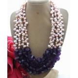 Perlový náhrdelník jezerní růžové perly a ametyst YY090