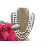 Perlový náhrdelník jezerní bílé perly 15mm, 3 řady YY098