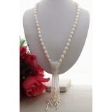 Perlový náhrdelník bílé jezerní perly a křišťál YY136