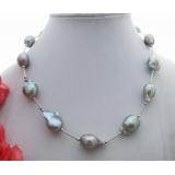 Perlový náhrdelník šedé barokní jezerní perly YY148