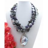 Perlový náhrdelník jezerní šedé perly a coin perly, ametyst a labradorit YY149