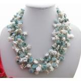Perlový náhrdelník bílé reborn keshi perly larimar a kříšťál YY188
