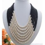 Perlový náhrdelník bílé a černé jezerní perly YY190