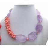 Náhrdelník fialový ametyst a růžový korál YY191