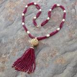 Perlový náhrdelník jezerní bílé perly a achát YY222