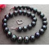 Perlový náhrdelník jezerní černé perly 14mm YY224