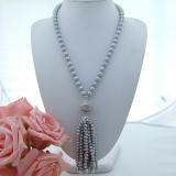 Perlový náhrdelník jezerní šedé perly 10mm YY249