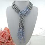 Perlový náhrdelník jezerní šedé perly a modrý chalcedon YY250