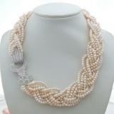 Perlový náhrdelník jezerní bílé perly 5mm YY254