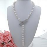 Perlový náhrdelník jezerní bílé obláčkové perly 12mm YY255