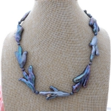 Perlový náhrdelník jezerní černé perly a keshi perly YY259