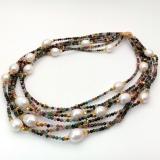 Perlový náhrdelník jezerní bílé barokní perly a barevný turmalín YY263