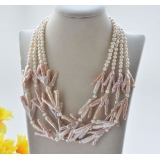 Perlový náhrdelník jezerní bílé a levandulové perly YY265