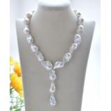 Perlový náhrdelník barokní jezerní bílé perly YY268