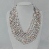 Perlový náhrdelník šedé mořské perly a jezerní bílé coin perly YY270