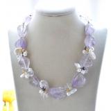 Perlový náhrdelník jezerní bílé perly, křišťál a ametyst YY271