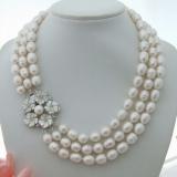 Perlový náhrdelník jezerní bílé perly 11mm YY273