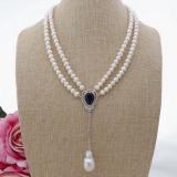 Perlový náhrdelník jezerní bílé perly 8mm YY276