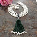 Perlový náhrdelník jezerní bílé perly a zelený křišťál YY280