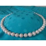 Perlový náhrdelník pravé jezerní bílé perly 14mm N1687