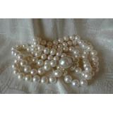 Perlový náhrdelník pravé bílé jezerní perly 12mm + mabe N1812