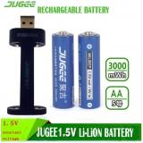 2ks jugee 1,5v 3000mWh AA dobíjecí Li-polymer Li-ion polymerní lithiová baterie +1 Nabíječka
