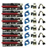 6ks Nejnovější Ver009 USB 3.0 Pci-E Riser Ver 009S Express 1X 4X 8X 16X Extender Riser Adaptérová karta